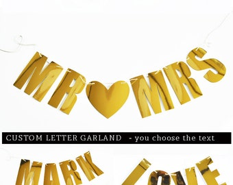 Custom Wedding Banner - Wedding Photo Backdrop - Personalized Wedding Bunting Garland Wedding Garland Backdrop Gold Wedding Garland (EB3085)