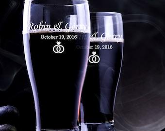 4 Pilsner Wedding Glass - Custom Wedding Beer Mug - Engraved Pilsner Glass - Wedding Pilsner Glass - Custom Beer Mug - Custom Pilsner Glass