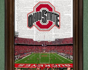 Ohio State Buckeyes Dictionary Art Print - National Champions Ohio State football Stadium upcycled dictionary page book art print