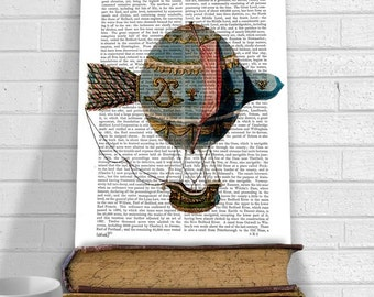 Hot Air Balloon With Tail Feather, Upcycled Dictionary Print, Balloon Illustration wall art wall decor blue home decor hot air balloon decor