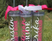 Set of 7 Tall Skinny Personalized Tumblers - Great Gift - Bridesmaids Gift - Bridal Party Tumblers - Bachelorette Gifts - Wedding Tumblers