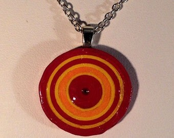 Coiled Paper Necklace Pendant Red, Yellow and Orange Handmade 021
