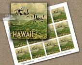 Hawaii Favor Tags - Printable Hawaii Thank You Tags - Vintage Shower or Birthday Thank You Favor Tags - Hawaiian Party Luau Tags VTW