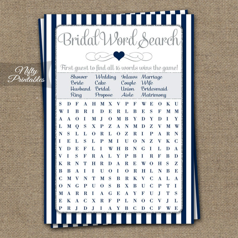 Bridal Shower Word Search Game Navy Blue Silver Fun Bridal