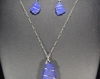 Cobalt Blue Sea Glass Necklace and Earring Set (SS Set 009)