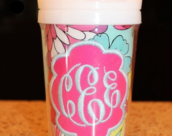 Aqua/Purple Flower Monogram Sippy Cup - Personalized w/ Monogram or Name - SIPPY or STRAW Top options