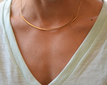 Curved Bar Necklace // Gold Tube Necklace // Sleek Collar Necklace //