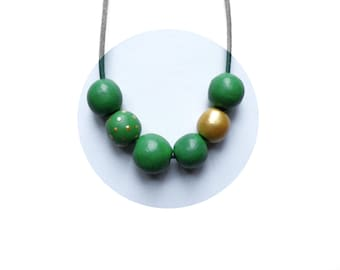 SALE! Clay beads necklace. Air dry clay necklace. Beaded necklace. Green beads necklace. Beads necklace. Statement necklace. Chunky necklace