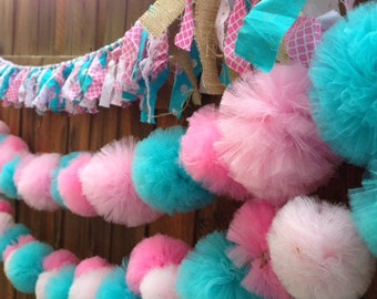 Tulle Pom Pom Garland - Choose Your Colors!