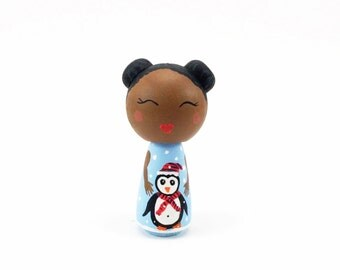 OOAK Black Kokeshi Peg Doll, Penguin Collectible Toy Wood Peg Doll, African American Miniature Figurine, Penguine Figurine, Black Peg Doll