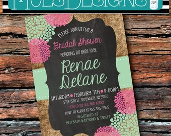 Any Color BURLAP BRIDAL CHALKBOARD Floral Mint Pink Blue Peach Purple Teal Wedding Brunch Tea Party Baby Shower Surprise Birthday Invitation