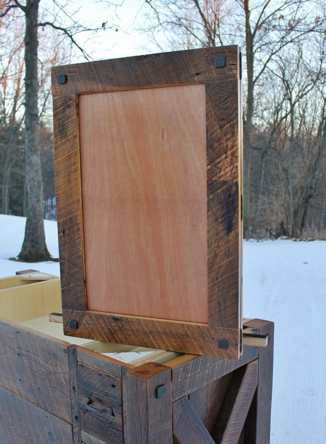 Rustic medicine cabinet recessed w mirror frame reclaimed for Wood frame medicine cabinet