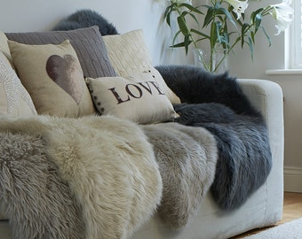 STUNNING ! Neutral sheepskin rugs in super soft  thick ,  sheepskin shades of taupe through to greys, stunning nordic inspired collection