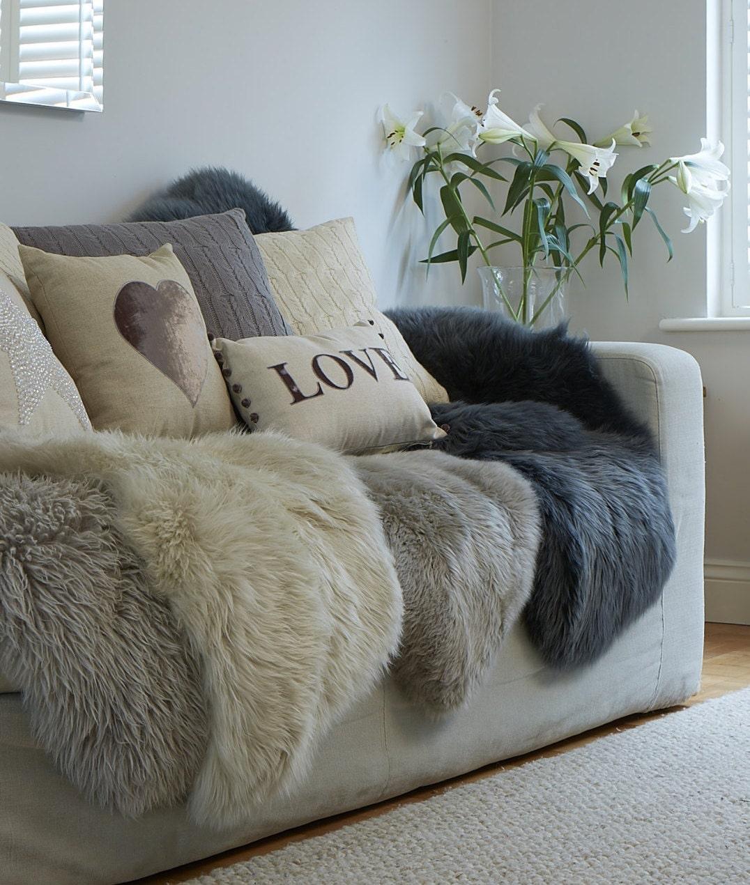 Sheepskin Rug Look: STUNNING Neutral Sheepskin Rugs In Super Soft Thick