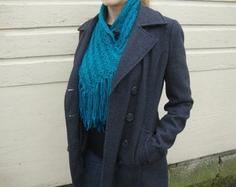 Turquoise Hand Knitted Acrylic Scarflette - Women's Scarf - Teen Scarf - Vegan Scarf - Turquoise Acrylic Fringe Scarf - Blue Acrylic Scarf