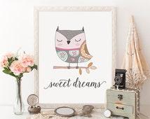 Sweet Dreams Owl Printable Art Print Poster Nursery Wall Art Nursery Decor 8x10 Instant Download Sleeping Owl Girls Room