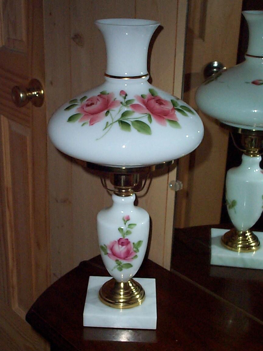 White Milk Glass Hurricane Table Lamp Vintage Parlor Light