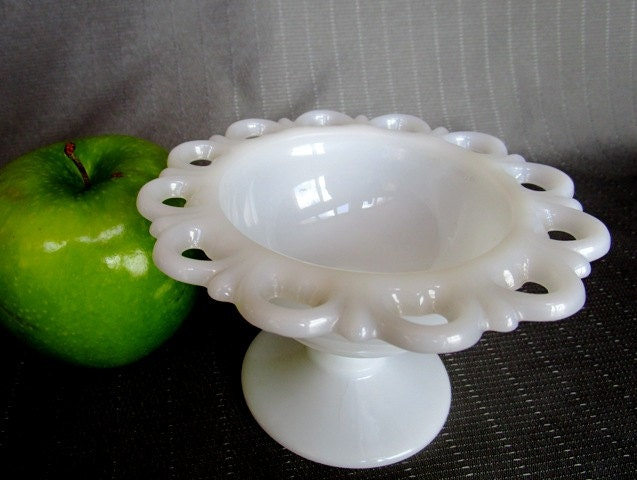 White Milk Glass Candy Dish Lace Edge Pedestal Small Display
