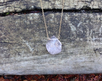 Rose Quartz Slice Necklace in 14K Gold-Fill, Sterling Silver, or 14K Rose Gold-Fill - 16 or 18 inches