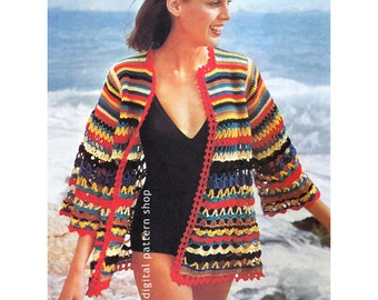 Crochet Beach Cover Up Pattern Womens Wrap Beach Jacket Crochet Pattern PDF - C113