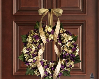Purple Hand Blended Hydrangea Wreath | Summer Wreaths | Front Door Wreaths | Wreaths for Door | Summer Door Wreath