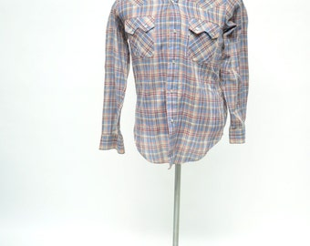vintage shirt plaid LEVIS BIG E western cowboy pearl snap button small
