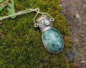 SALE // Italian Green Marble & Rainbow Moonstone // Secret Compartment Pendant // Stash // Hidden Storage // Rare // Sterling Silver