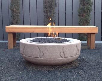 Concrete Firepit Wood or Gas Burning (Firepot) Hand-Carved by Joe Rivera and Cristi Mason-Rivera