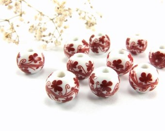 Red Ceramic Beads, 12mm Round Ceramic Beads, Floral Ceramic Beads, Lampwork Porcelain Bead, Ceramic Bead Findings, Handpainted Ceramic Beads