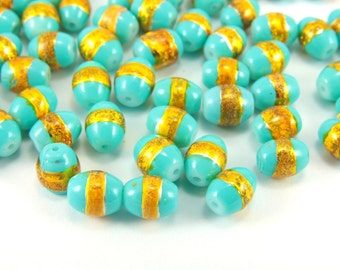Turquoise Oval Glass Beads, 50pcs Oval Glass Beads, 8mm x 6mm Glass Beads, Oval Glass Gilded Beads, Glass Bead Findings, Oval Beads Findings