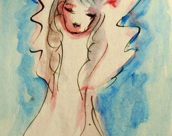 Acrylic Angel Painting on Paper, Blue and Red Original Painting, Guardian Angel, Small Paintings, Angel Art, Gift for Her, Birthday Gft