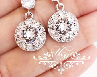 Wedding Jewelry Wedding Bridal Earrings Bridesmaids Earrings Swarovski Crystal Earring Stud Rhinestone Earrings Zirconia Earrings - ORLA
