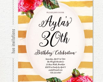 gold white stripes rose womens birthday invitation, digital gold foil 30th birthday party invite, modern glam printable 5x7 invitation s95