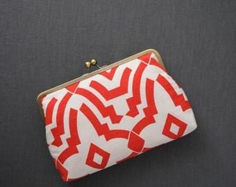 SALE | Oversized Clutch / Geometric Clutch / Coral Red & White Clutch {Marni Clutch: Zoey}