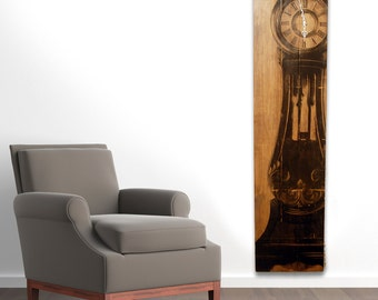 "Large Wall Clock Grandfather Clock Art on Solid Wood Planks 60"" x 15"""