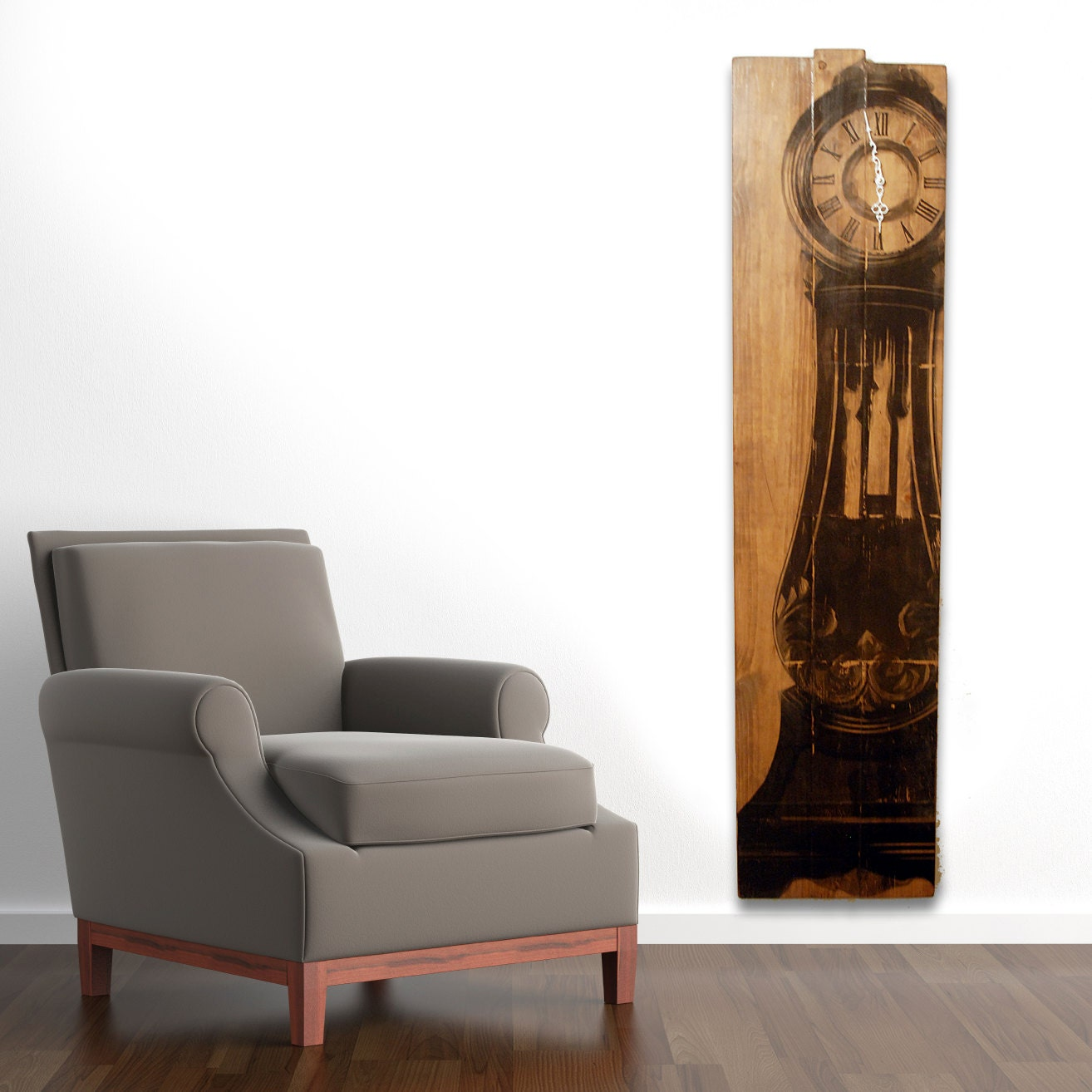 Large wall clock grandfather clock art on solid wood planks - Wall hanging grandfather clock ...