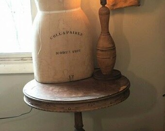 Bowling Pin Lamp, Vintage Americana Table Light Made From Salvaged Antique Wood Bowling Pin