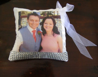 Wedding Ring Pillow, Valentines day pillow, Personal wedding pillow, wedding keepsake, custom pillow, photo pillow