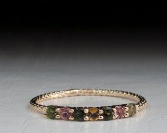 Green Tourmaline ring - Yellow Tourmaline - Pink Tourmaline Gold dainty ring