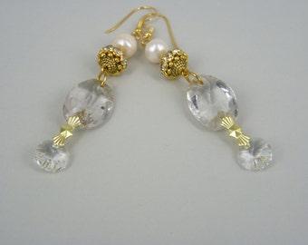 vintage assemblage earrings VINTAGE CHIC - antique chandelier crystals, freshwater pearls, rhinestone rondelles, gold vermeil, bridal