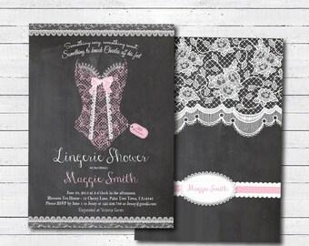 Elegant lace lingerie shower invitation. Pink. Printable Retro chalkboard lingerie shower party invitation. Lace corset. Digital file