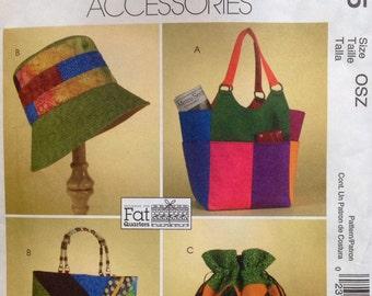 McCall's M4795 UNCUT Misses Hat, Totes and Handbag