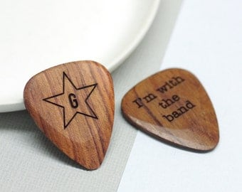 Wooden Guitar Plectrum, Personalised Guitar Pick, Custom Guitar Pick, Personalized Guitar Plectrum, Music Lover Gift, Star Initial Plectrum