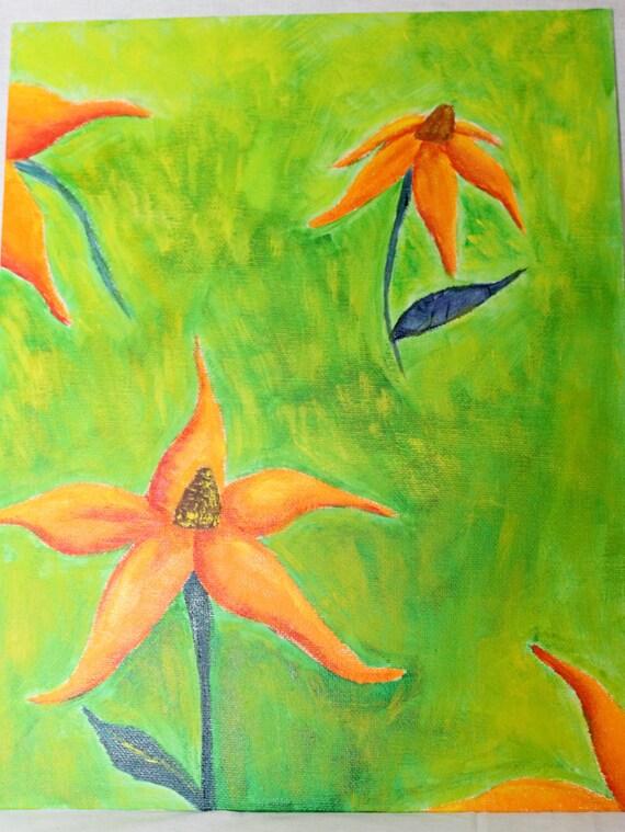 Orange Flowers Painting- Original 9x11 Acrylic painting