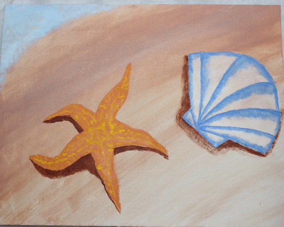 Starfish and Shell Painting- 9x11 acrylic painting