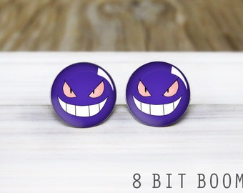 Gengar Earrings - Pokemon Silver Stud Earrings - Hypoallergenic Earrings for Sensitive Ears