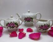 Vintage Tea Set ~ China Teapot, Creamer, Sugar Bowl ~ Magenta Roses ~ Shabby Kitsch ~ Mid Century ~ Japan ~ Vintage Servingware ~ Tea Party