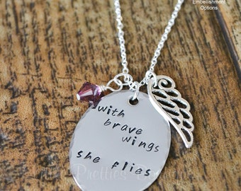 With Brave Wings She Flies Necklace, Hand Stamped, Personalized, Inspirational Gift, Inspirational Necklace, Inspirational Jewelry