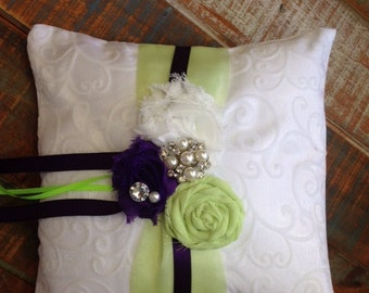 Ring Bearer Pillow, Navy and Green Ring Bearer Pillow, Lime Green & Navy Pillow, Shabby Chic Ring Pillow, Ring Pillow, Bridal Pillow,