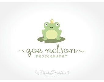 OOAK Logo Design (Premade) Frog Logo, Photography logo, Cute Logo, Hand Drawn logo, Boutique Logo, Newborn Logo